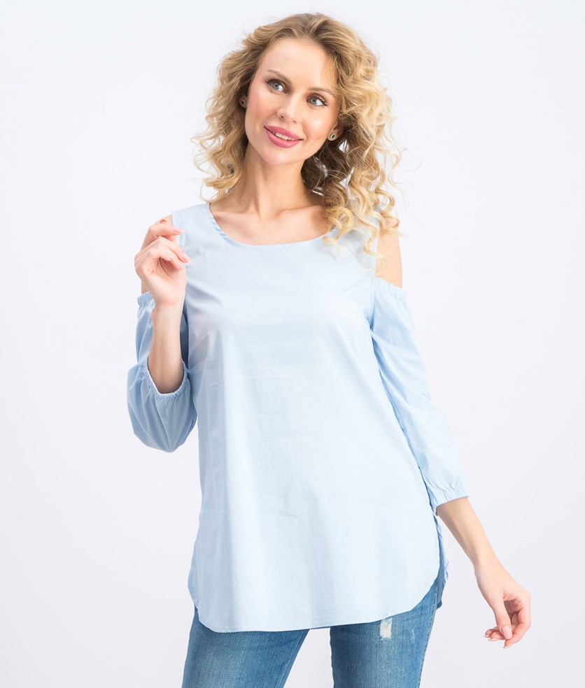 Women's Cold Shoulder Keyhole Blouse, Blue