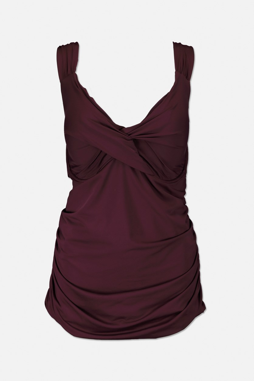 Women's Pull Over Twist Front Tank Top, Purple