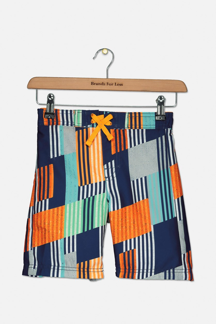 Boy's Vertical Stripes Swimming Trunks, Orange Combo