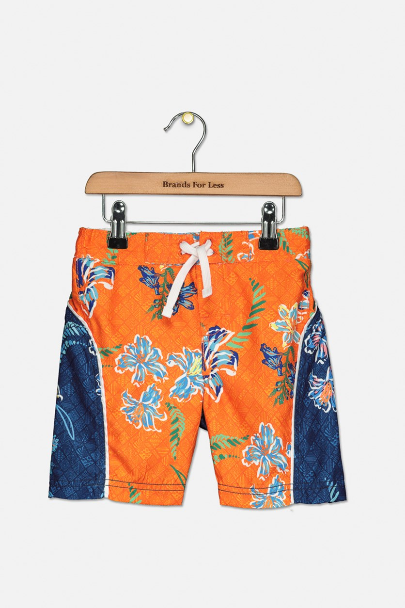 Toddler Boy's Floral Print Broadshort, Orange Combo