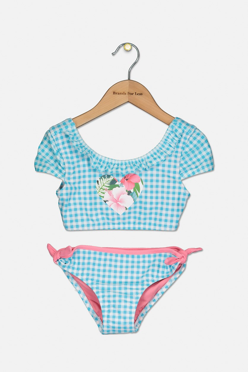 Toddler's Checkered With Heart 2 Piece Swimsuit, Light Blue/Pink