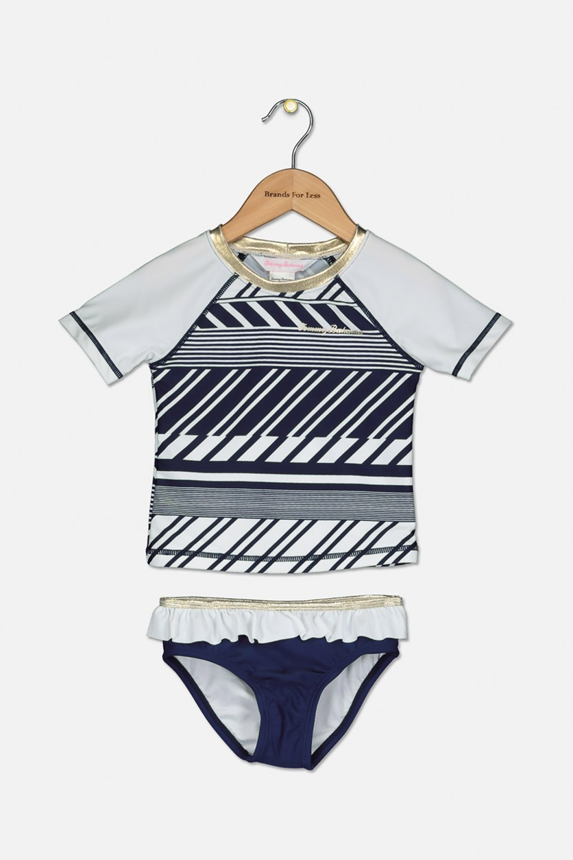 Toddler Girl's Stripes Rash Guard Set, Navy Blue/White