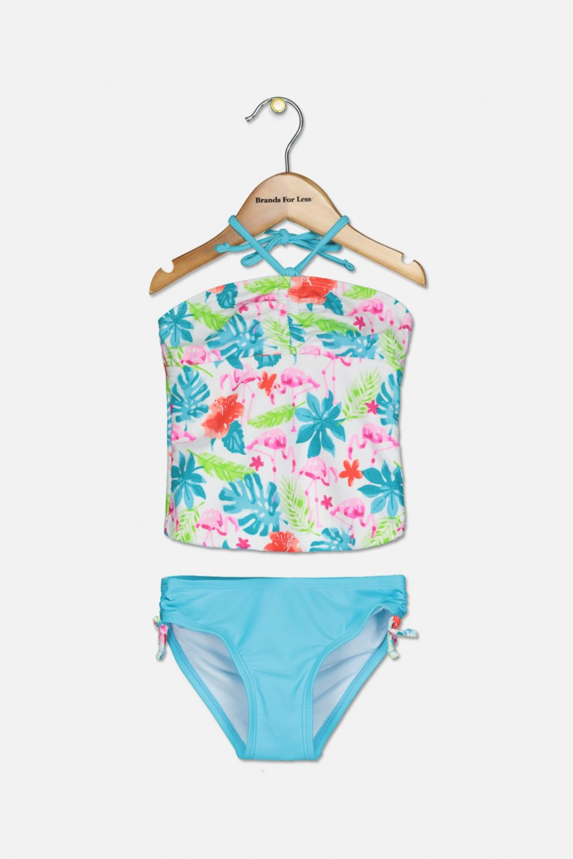 Toddler's 2 Piece Floral Swimwear, Blue/White/Red Combo