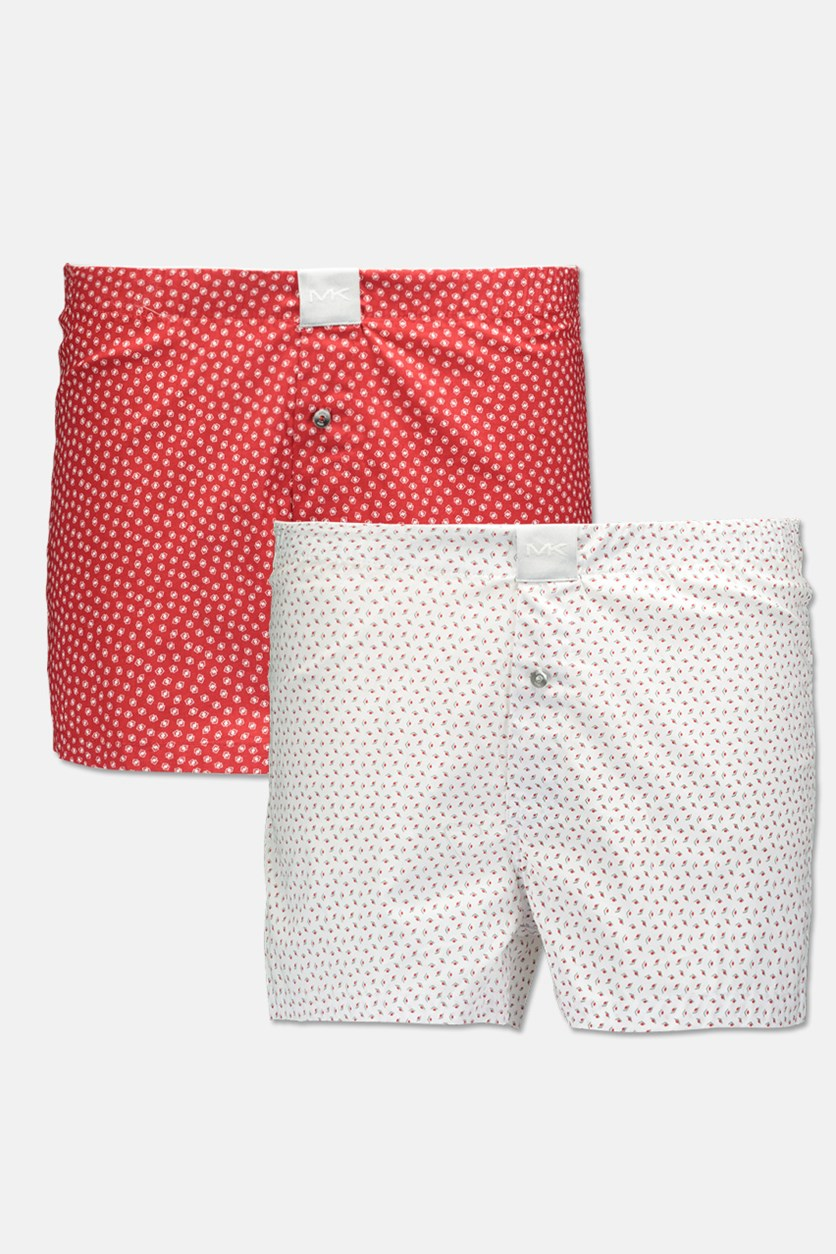 Men's Airsoft Touch Woven Boxer Set of 2, White/Red