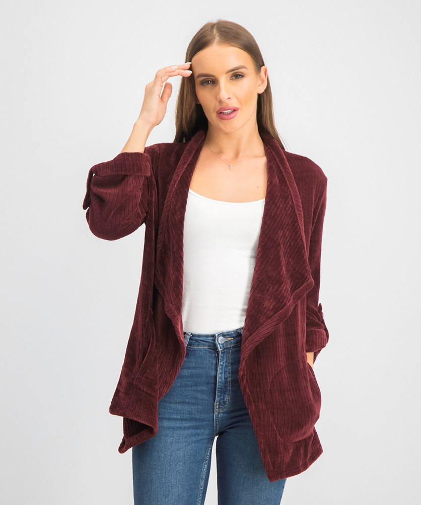 Women's Textured Open Front Cardigan, Maroon