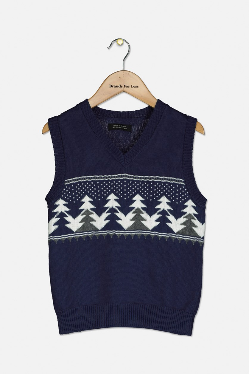 Boys Kids Fleece-Lined Sweater Vest, Navy