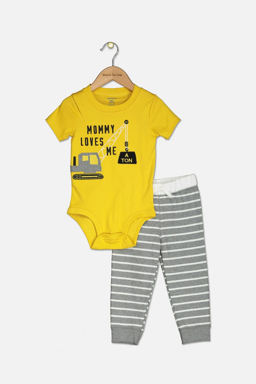 Toddler's Bodysuit and Pant Set, Yellow/Grey