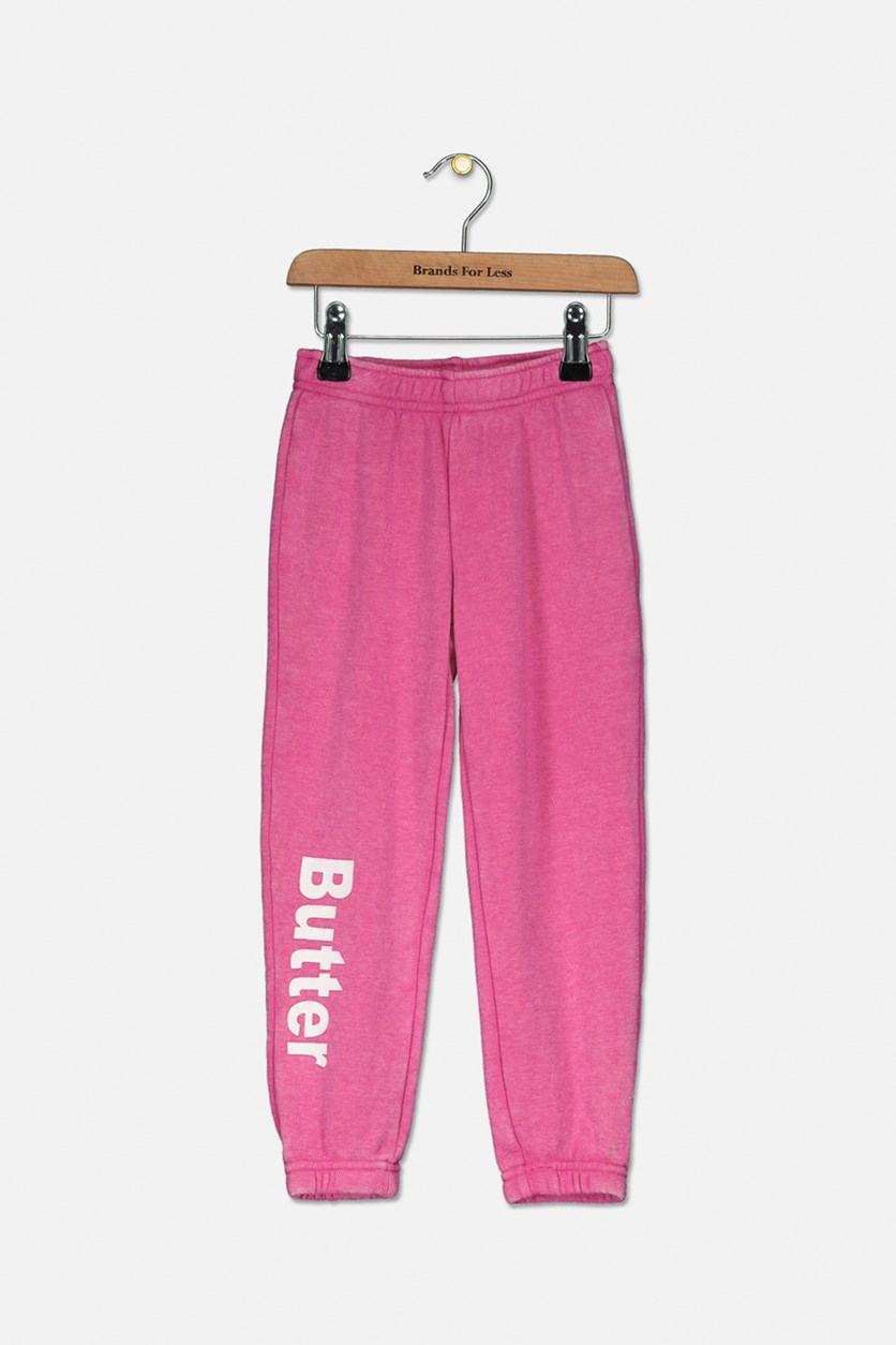 Little Girl's Burnout Fleece Varsity Pants, Pink