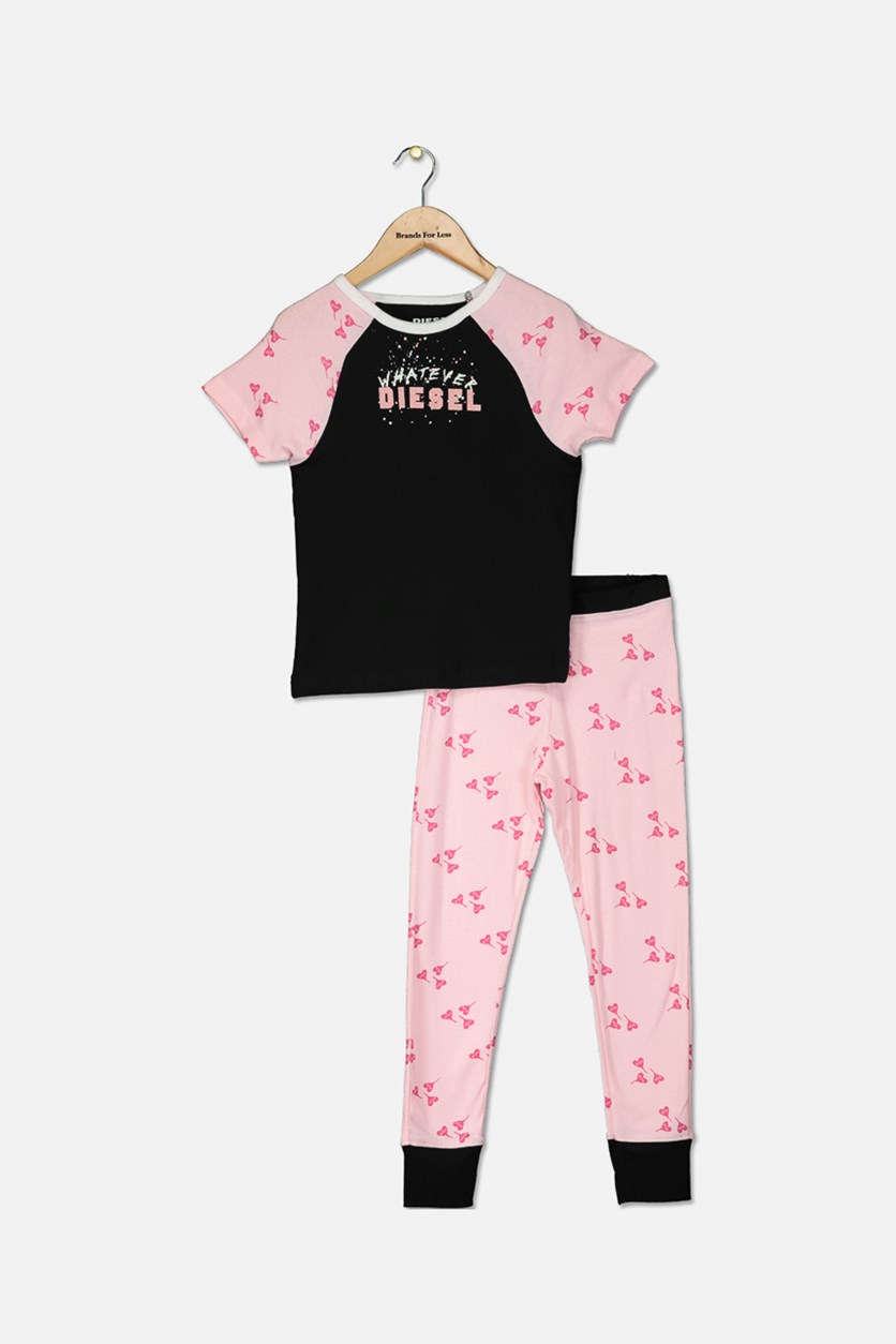 Girl's Printed T-Shirt and Pant Sleepwear Set, Black/Pink