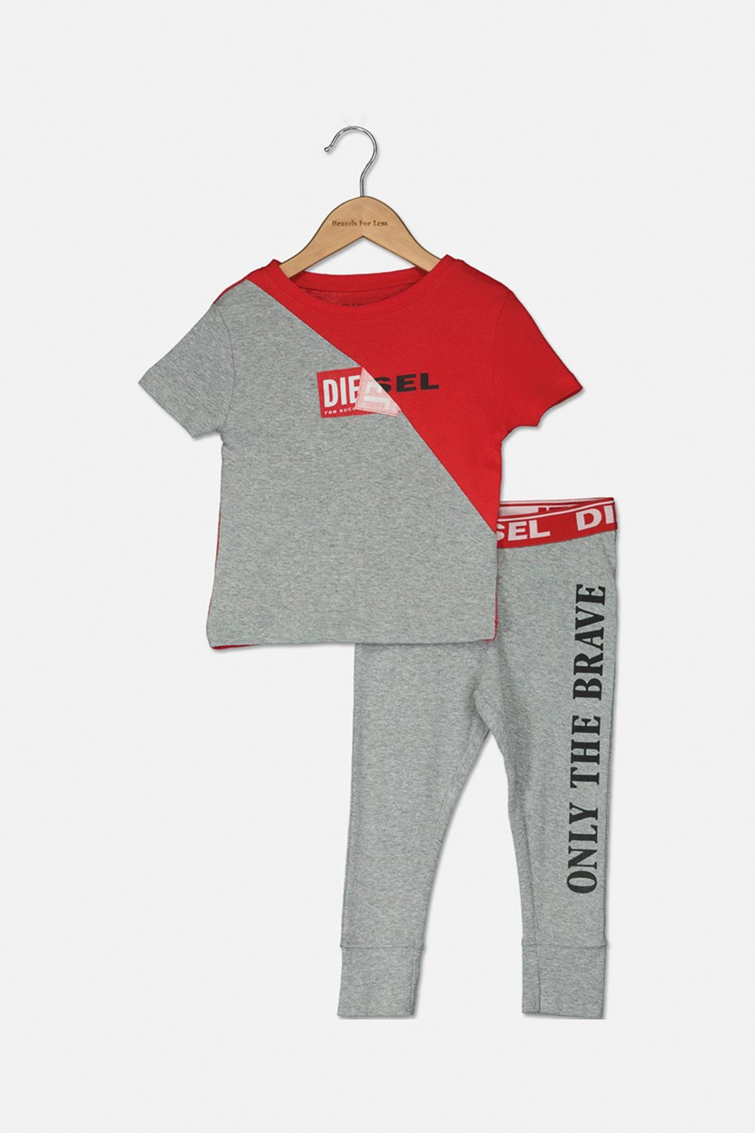 Toddler Boy's Short Sleeve Top and Pants, Red/Grey