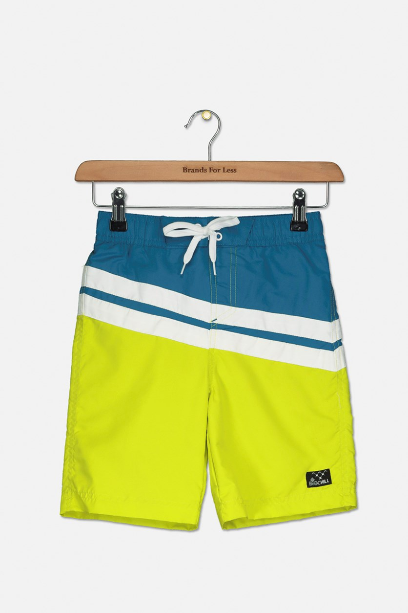 Boys Phillip Colorblocked Board Short, Lime Green/White/Teal