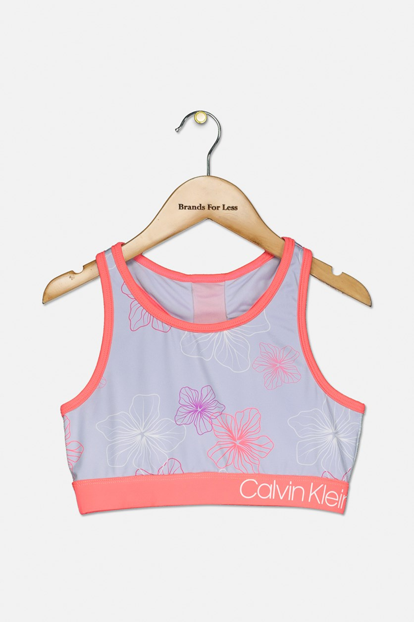 Big Girls Floral-Print Sports Bra, Ice Orchid
