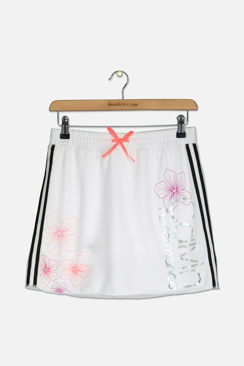 Big Girls Side-Striped Floral-Print Skooter Skort, White