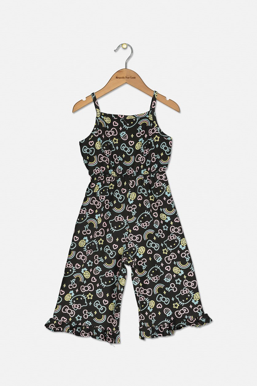 Little Girls Allover Print Romper, Black
