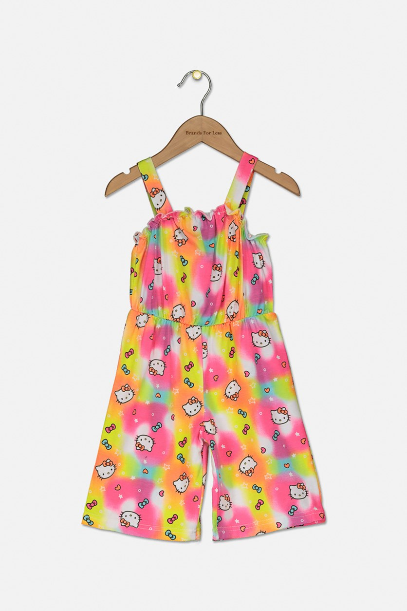 Little Girls Hello Kitty Print Romper, Neon Combo