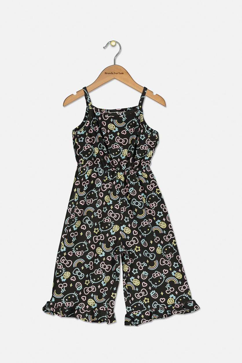 Kids Girls Allover Print Romper, Black Combo