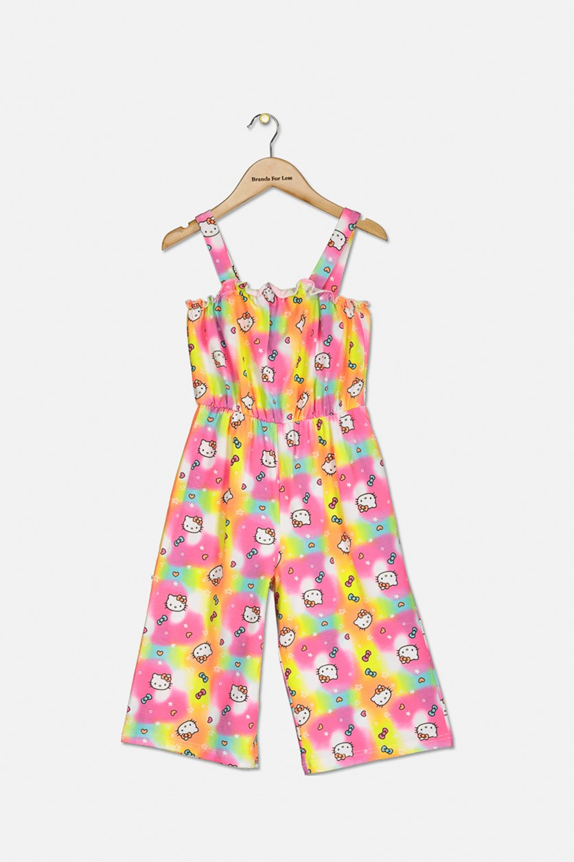 Big Girls Hello Kitty Print Romper, Neon Combo