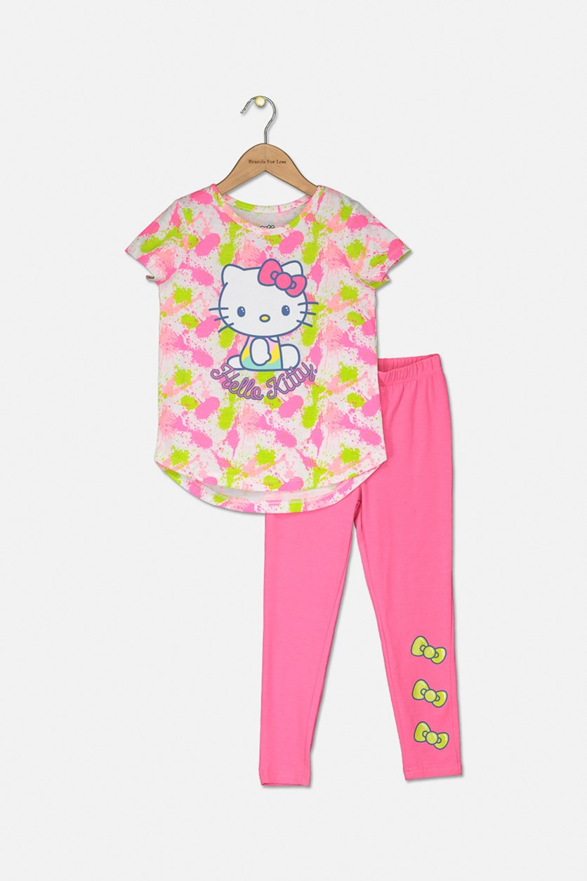 Kids Girl's Allover Printed Top & Leggings Set, Knockout Pink