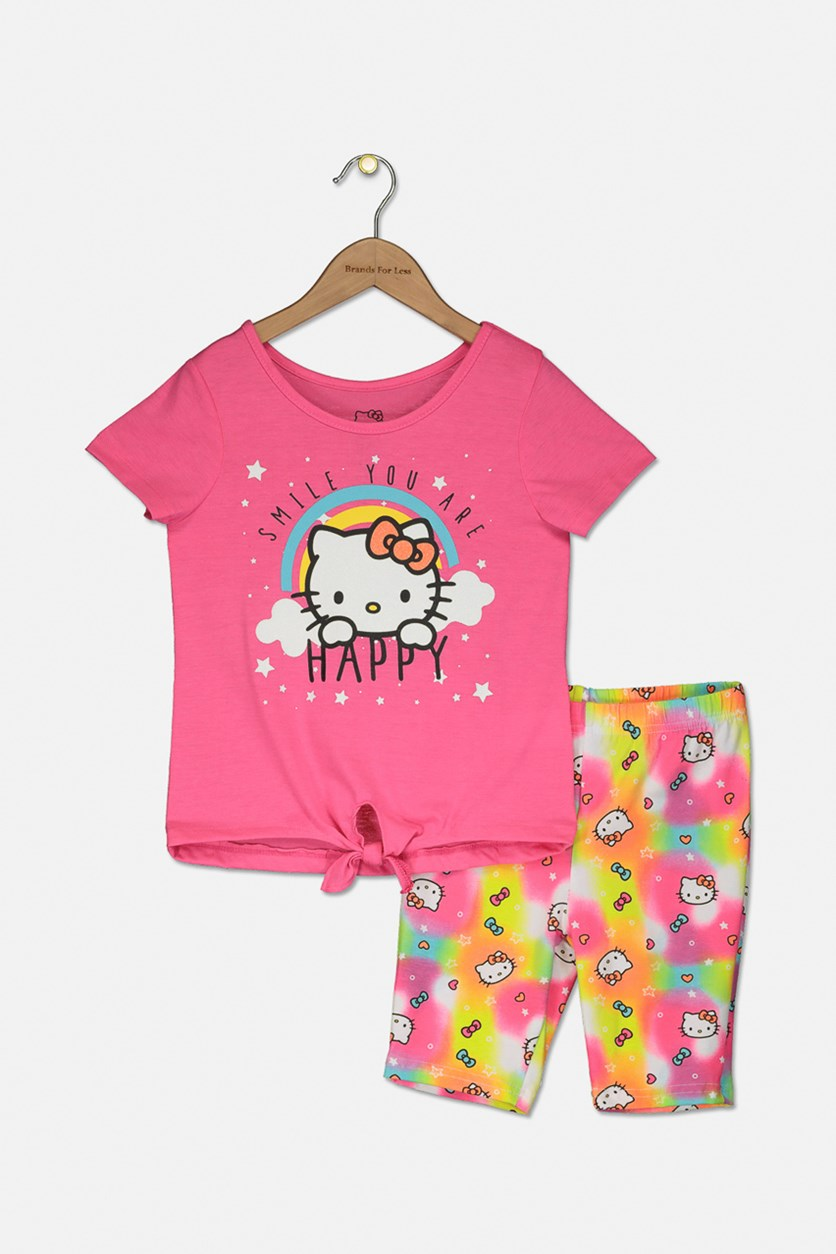 Big Girls Hello Kitty Happy Print Top and Short Set, Knockout Pink