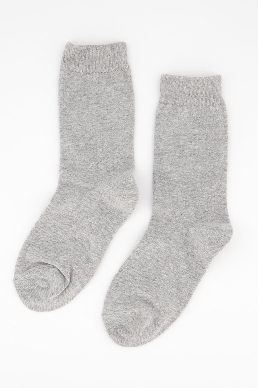 Girl's Solid Crew Socks, Grey