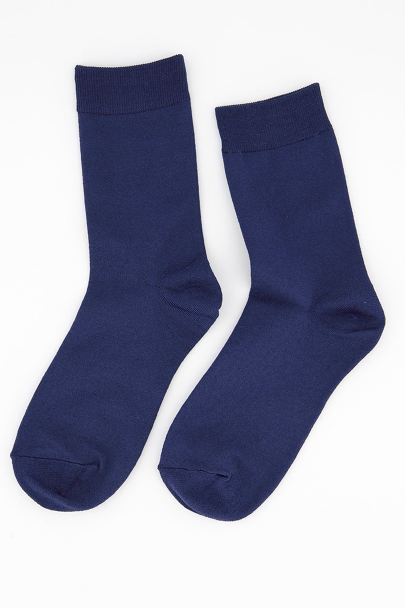 Girl's Solid Socks, Navy Blue