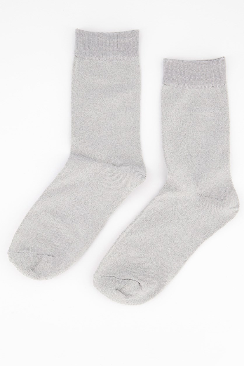 Girl's Solid Socks, Silver