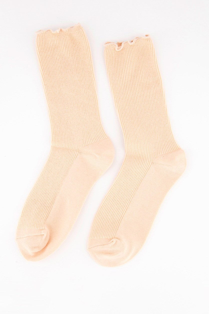 Girl's Solid Socks, Peach