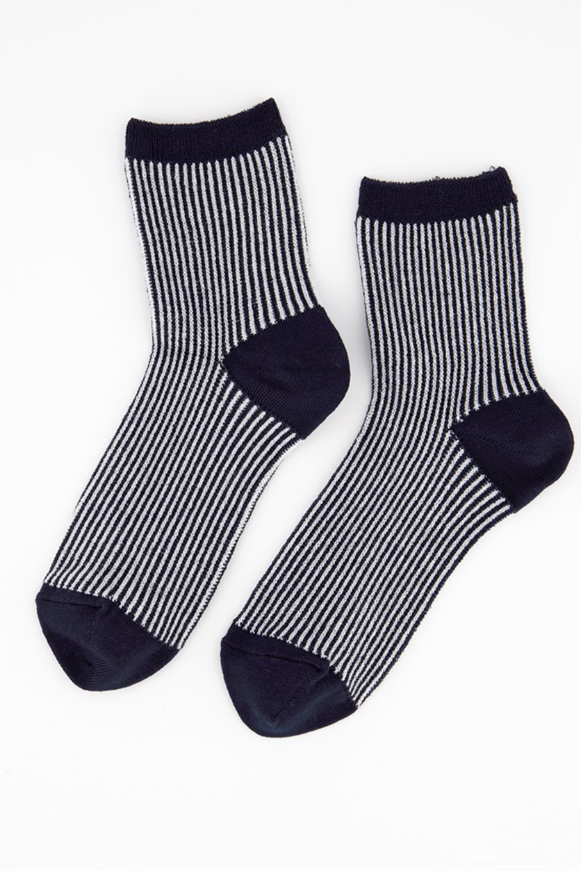Girl's Glitters Embellished Striped Socks, Blue/Grey