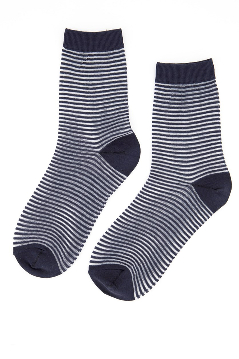 Girl's Striped Socks, Navy Blue/White