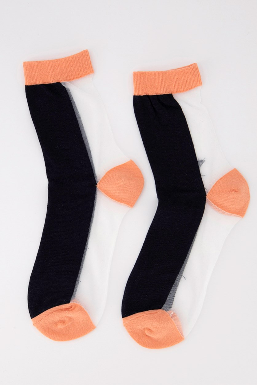 Girl's Colorblock Socks, Orange/White/Black