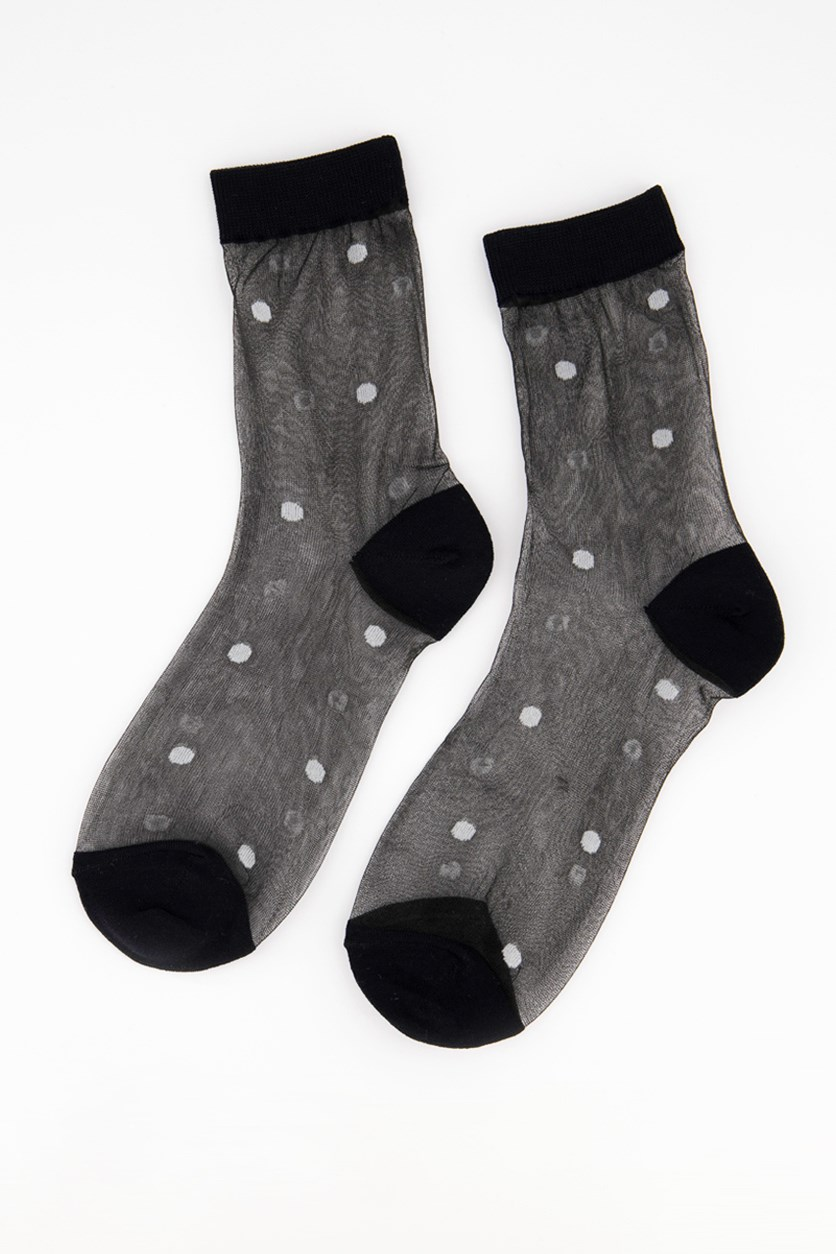 Girl's Polka Dots Print Socks, Black/White