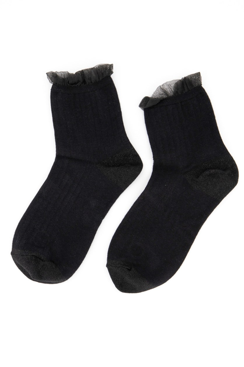Girl's Textured Socks, Black