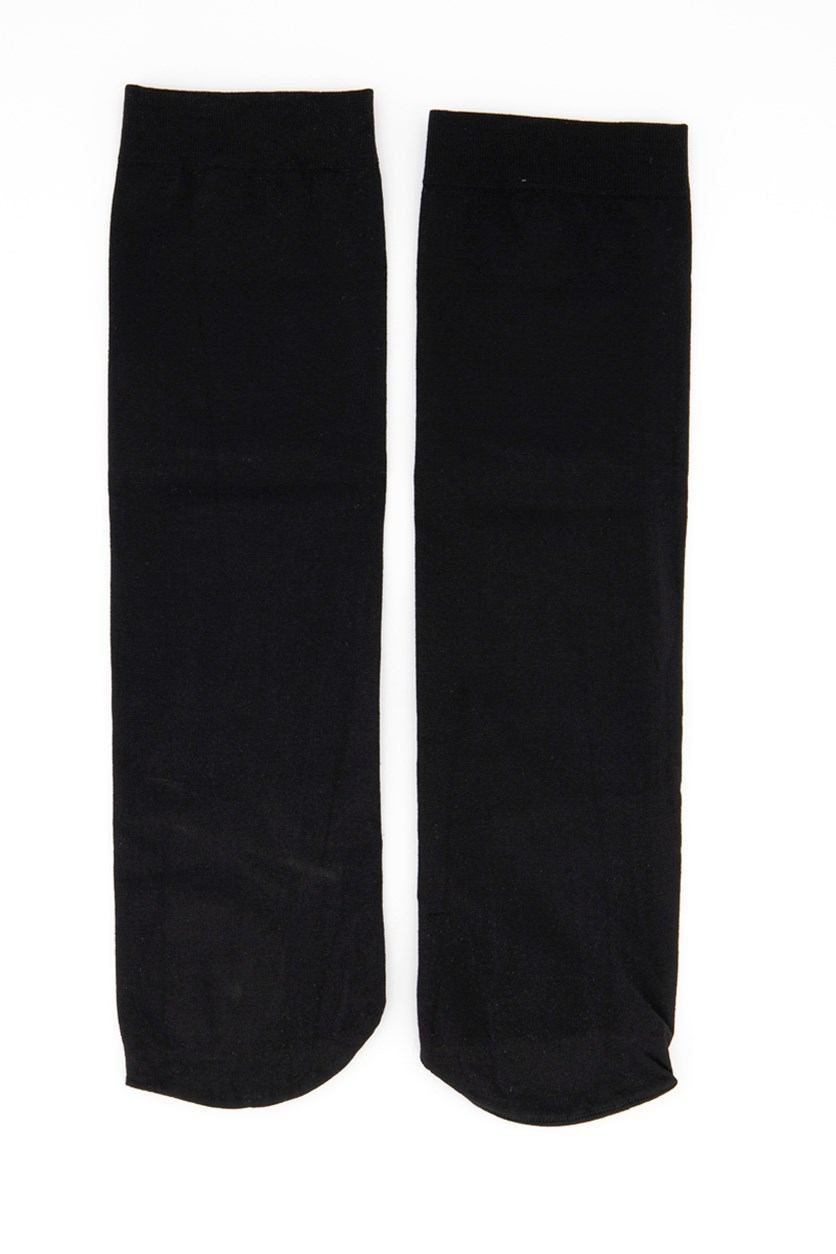 Girl's Solid Socks, Black