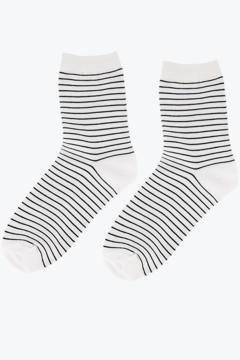 Girl's Striped Socks, White/Black