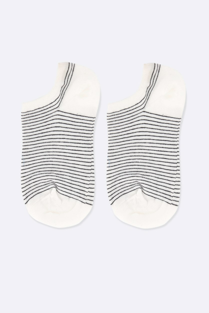 Girl's Striped Socks, Black/White