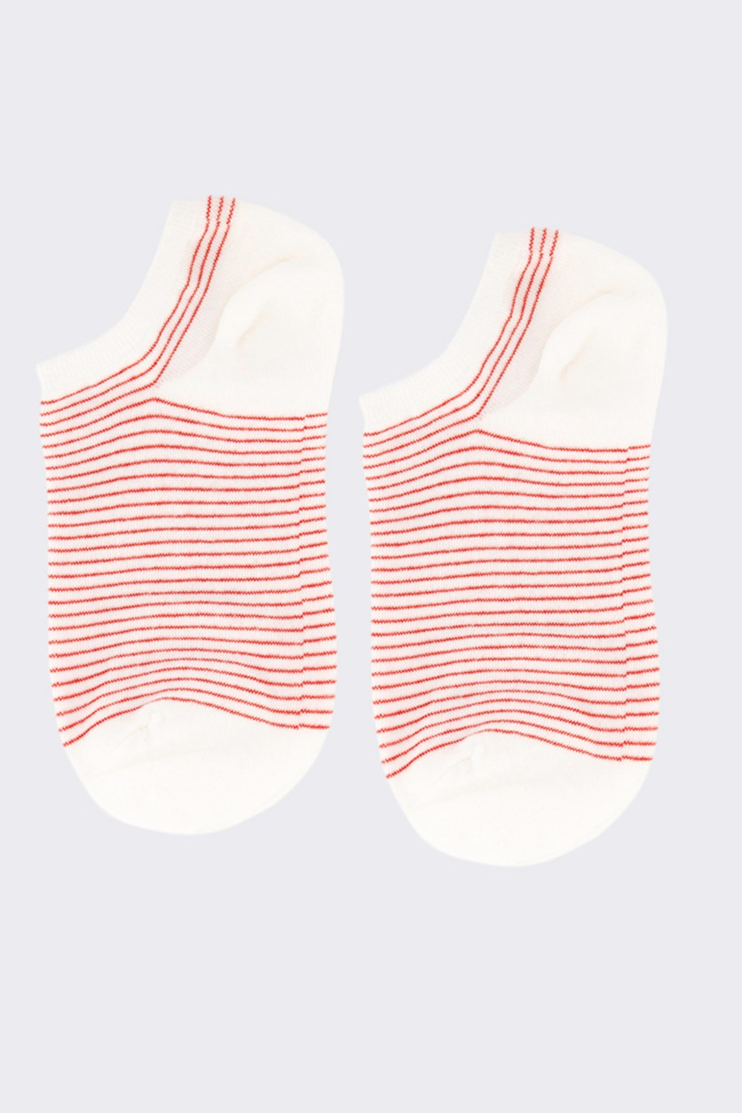 Girl's Striped Socks, Red/White