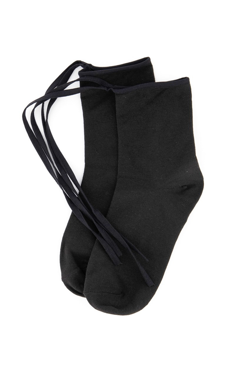 Girl's Tie Socks, Black
