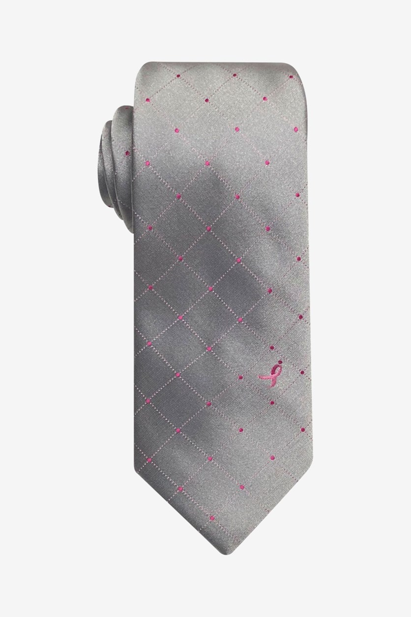 Men's Four Corner Grid Slim Tie, Grey/Pink