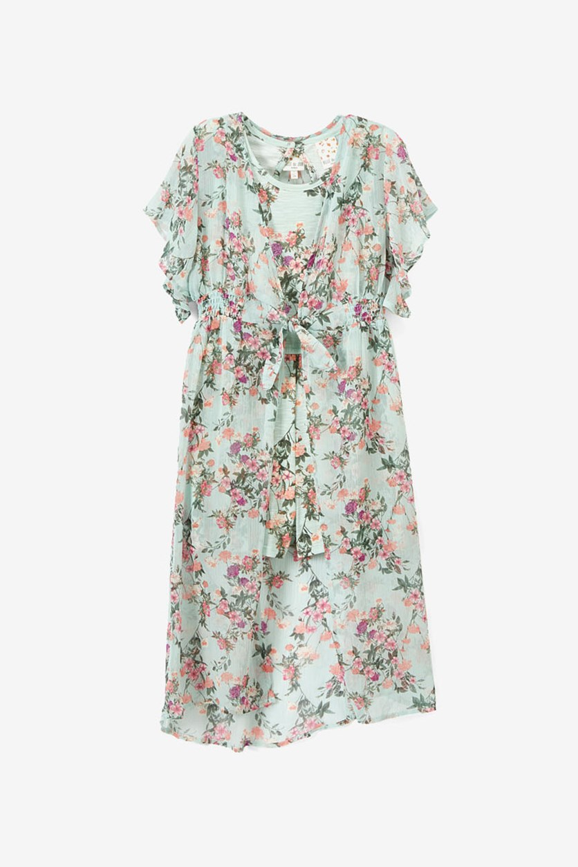Girl's 2-in-1 Romper & Floral Duster Set, Mint