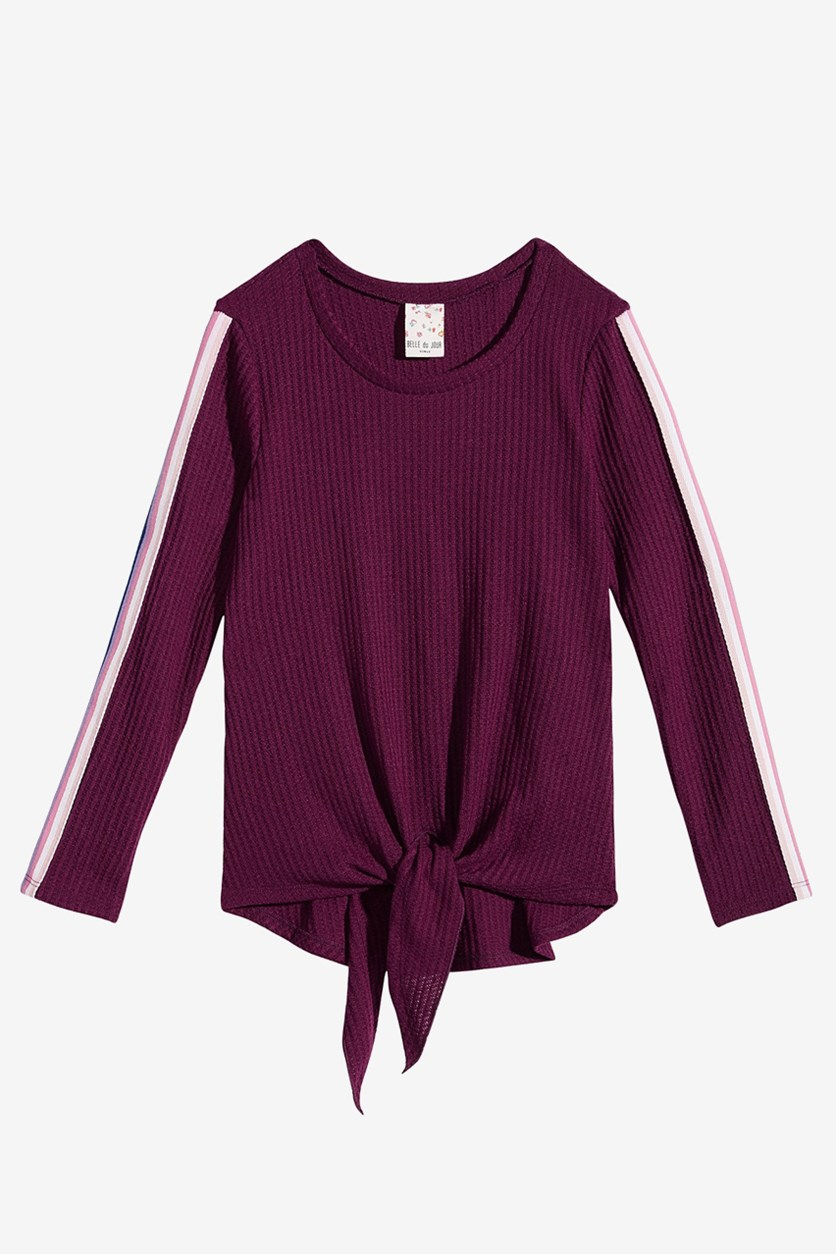 Big Girls Tie-Front Top, Purple