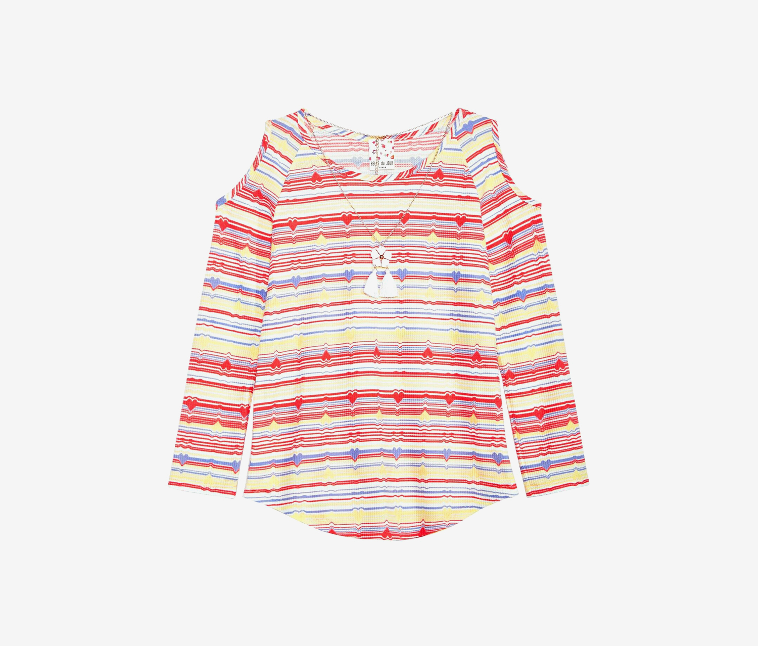 Big Girls Striped Top & Necklace, Yellow/Red Combo