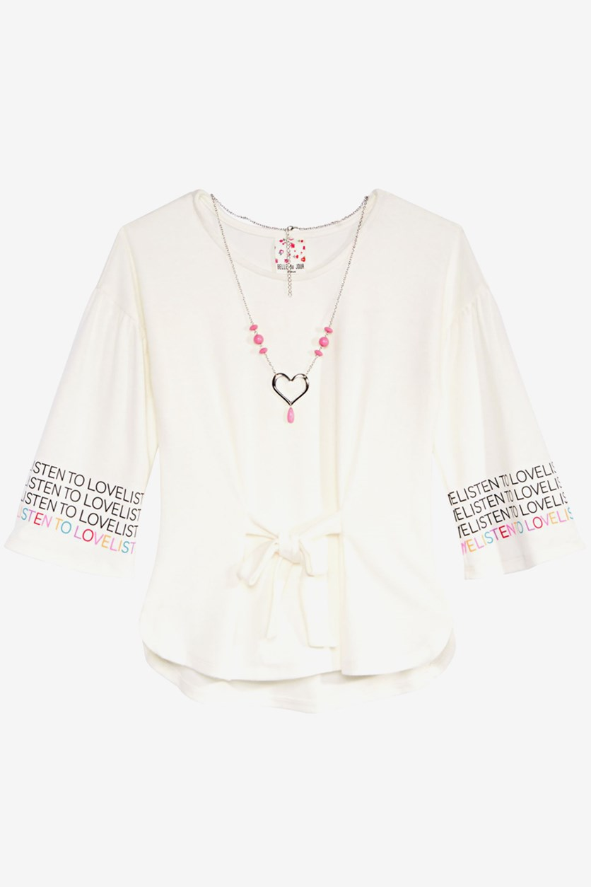 Big Girls Tie-Front Top & Necklace, Off White