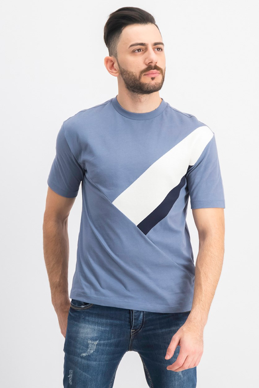 Men's Color Blocked T-shirt, Blue/White/Black