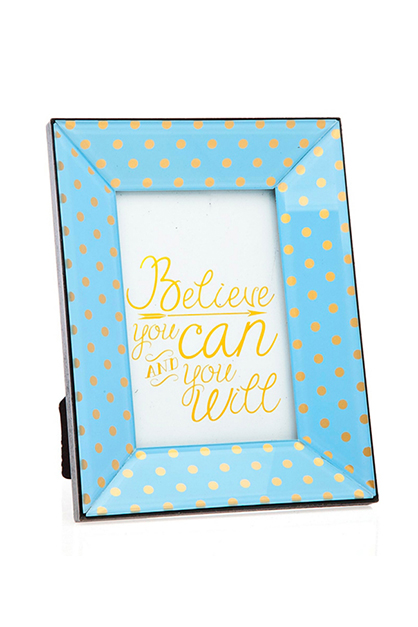 Beveled Glass Polka Dot Frame, Light Blue