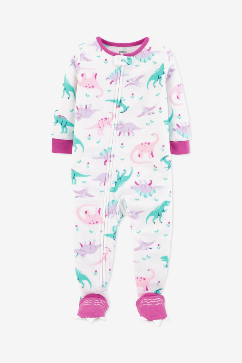 Toddler Girls Dino-Print Footed Pajamas, White Combo