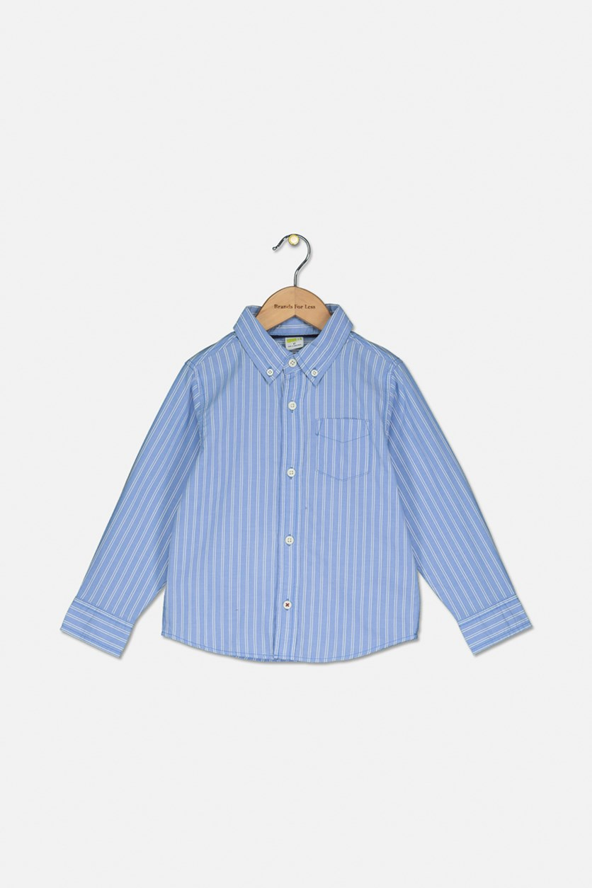Toddler's Boy's Stripe Casual Shirt, Blue/White