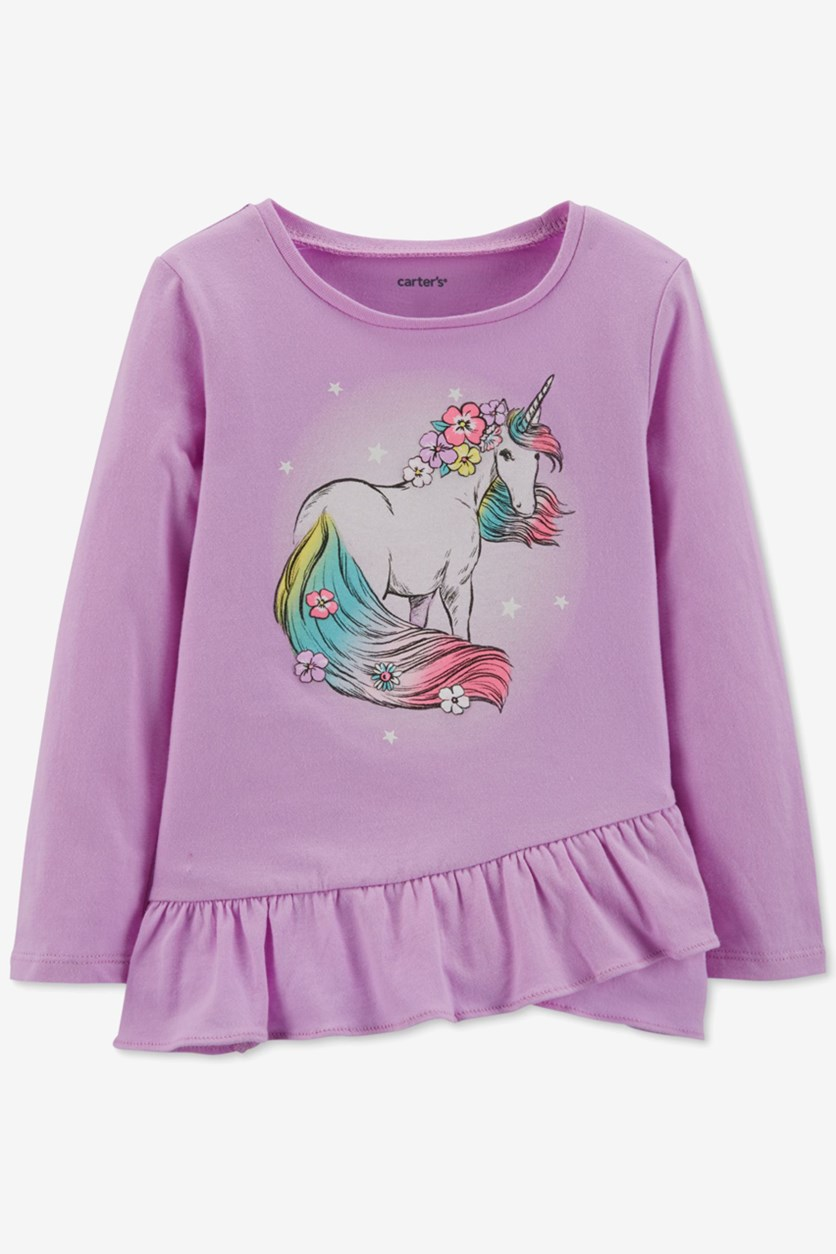 Toddler Girls Pullover Graphic Sweater, Purple