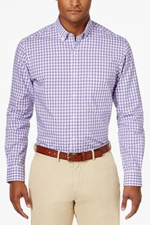 Men's Cotton Gingham Shirt, White/Purple