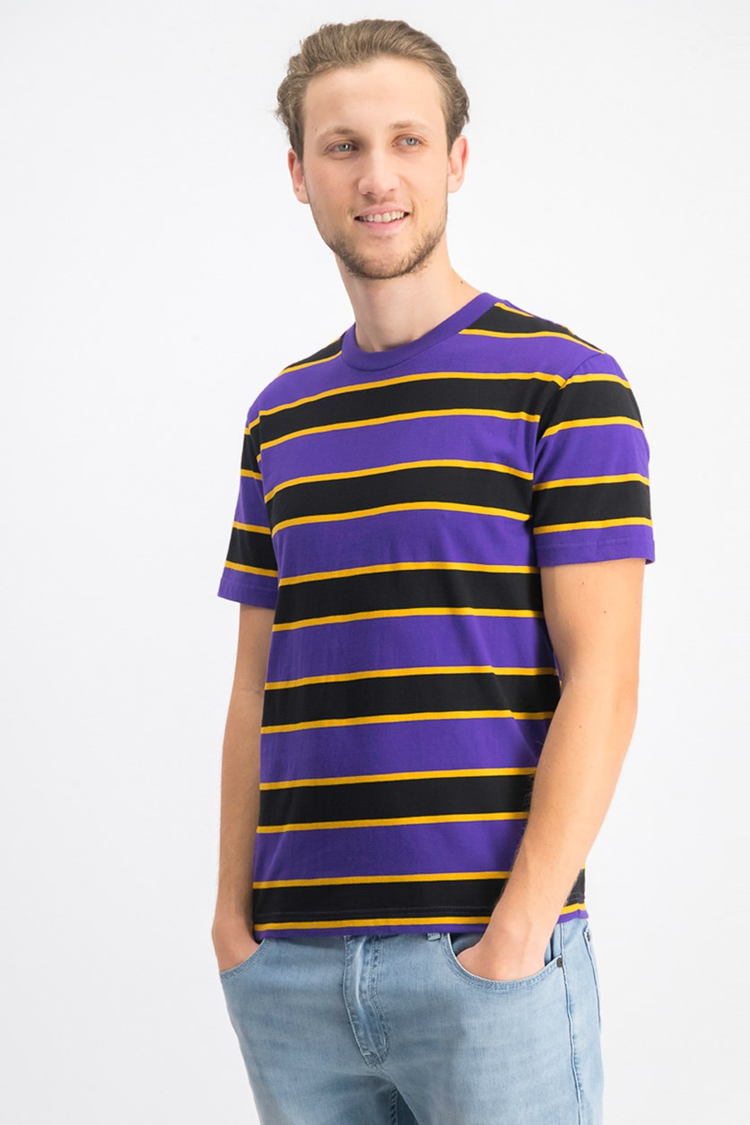 Men's Striped Short Sleeves Shirt, Purple/Black/Yellow