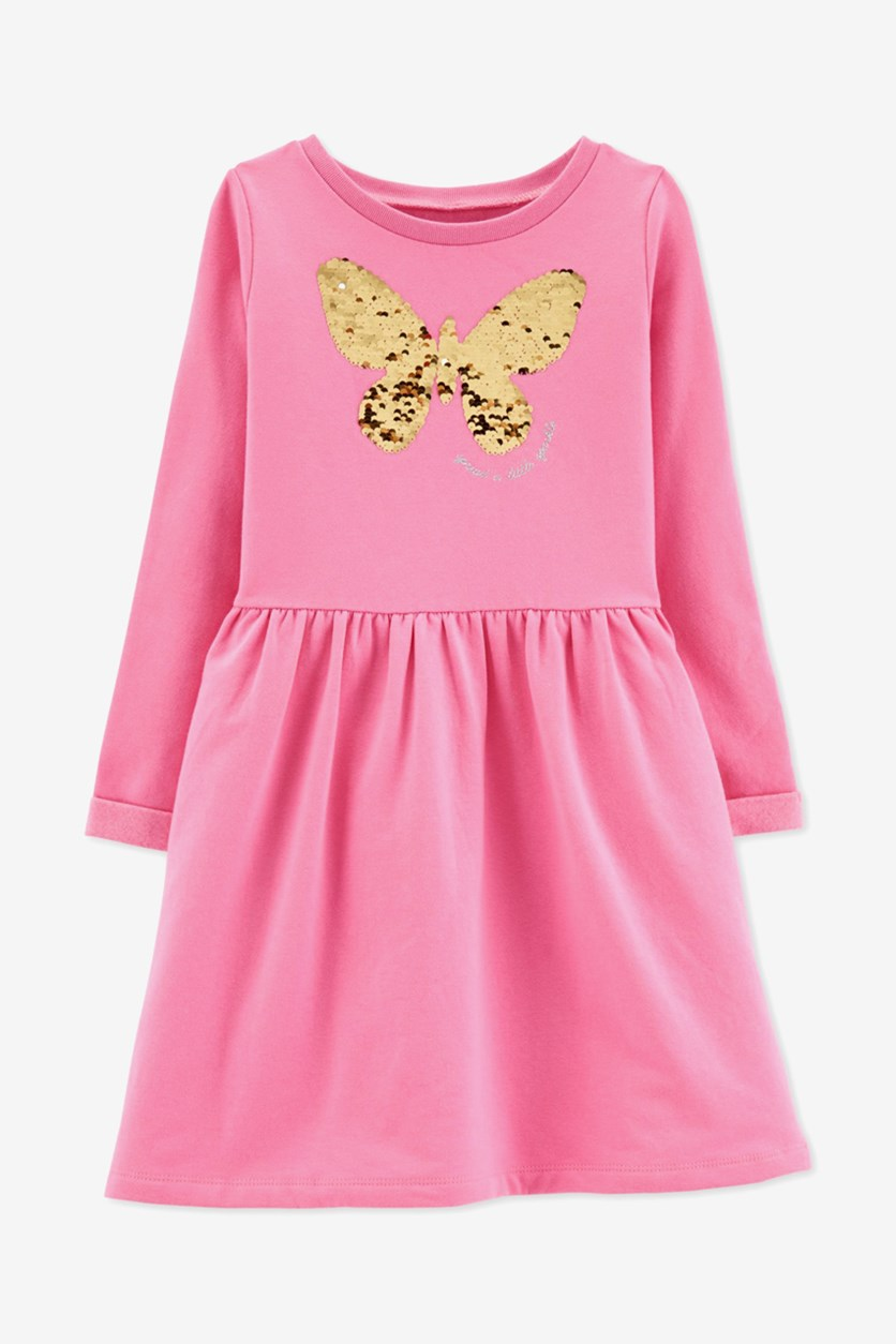 Little & Big Girls Sequin Butterfly Dress, Pink